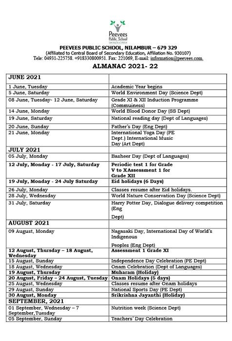 Annual academic calendar