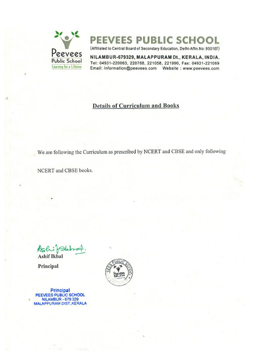 Details of Curriculum and Books